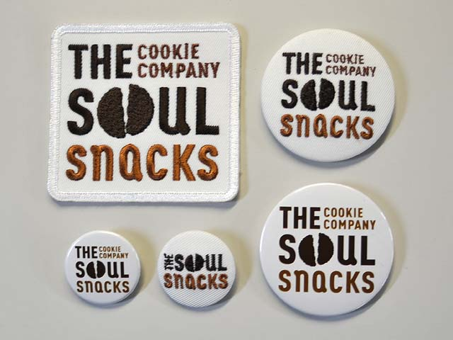 SOUL SNACKS ワッペン、缶バッジ、刺繍缶バッジ