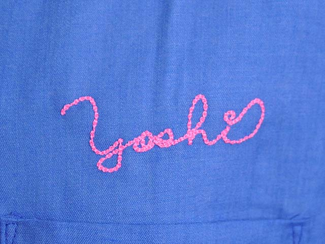ボウリングシャツチェーンステッチ風刺繍